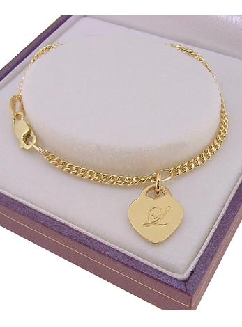 9CT GOLD 9.5mm HEART TAG CHARM CURB BABY CHILD BRACELET