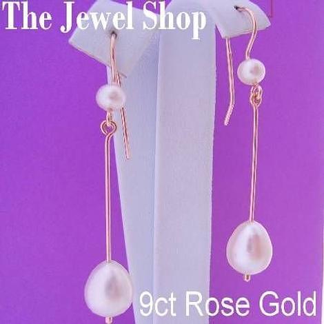 9CT ROSE GOLD TEARDROP FRESHWATER PEARL DROP DESIGNER HOOK EARRINGS
