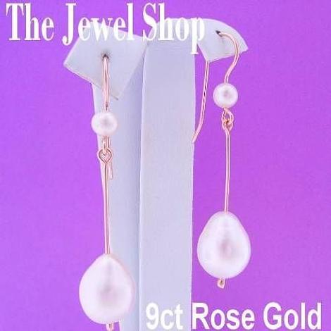 9CT ROSE GOLD LARGE TEARDROP FRESHWATER PEARL DROP HOOK EARRINGS