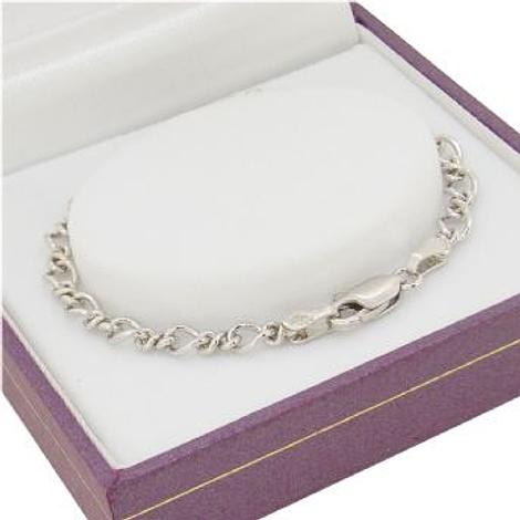 9CT WHITE GOLD FIGARO CURB BRACELET All Sizes Available