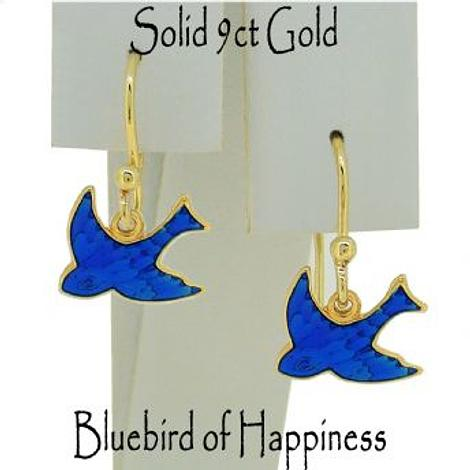 9CT GOLD 10mm BLUEBIRD OF HAPPINESS CHARM BALL HOOK EARRINGS