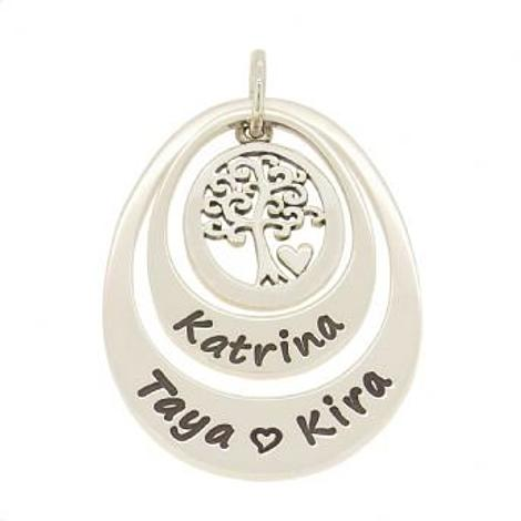 SMALL MEDIUM DOUBLE OVAL PERSONALISED FAMILY TREE OF LIFE NAME PENDANT
