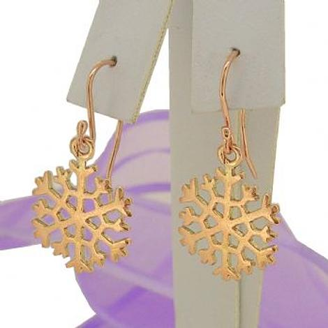 SOLID 9CT ROSE GOLD 15mm SNOWFLAKE CHARM BALL DROP HOOK EARRINGS