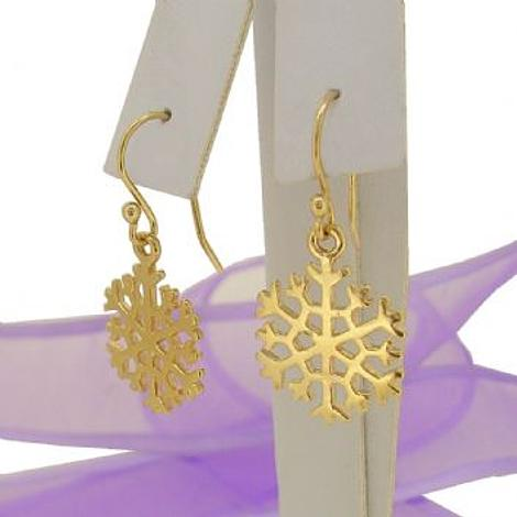 SOLID 9CT GOLD 15mm SNOWFLAKE CHARM BALL DROP HOOK EARRINGS