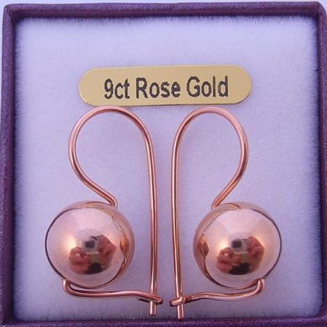 9CT ROSE GOLD 10mm BALL EUROBALL EARRINGS