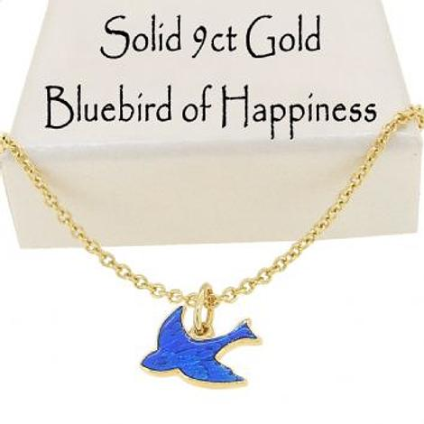 9CT YELLOW GOLD 10mm BLUEBIRD OF HAPPINESS CHARM NECKLACE