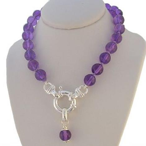 6mm FACET CUT NATURAL AMETHYST BOLT RING NECKLACE