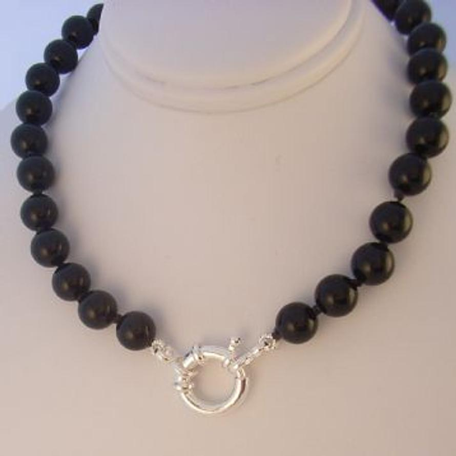 8mm BLACK ONYX BOLT RING NECKLACE