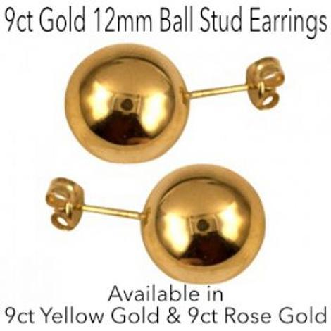 9CT GOLD 12mm BALL STUD DESIGN EARRINGS