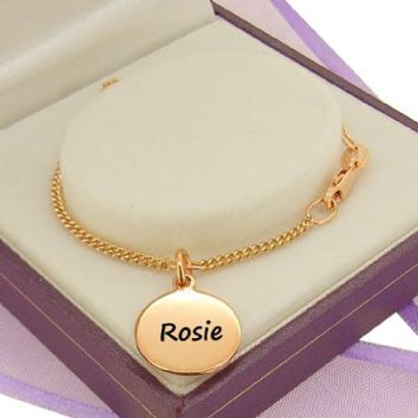 PERSONALISED 9CT ROSE GOLD 12mm COIN CHARM CURB BRACELET