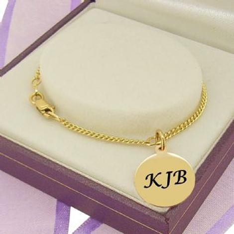 PERSONALISED 9CT GOLD 12mm COIN CHARM CURB BRACELET