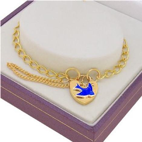 SOLID 9CT GOLD BLUEBIRD CHARM PADLOCK CURB BRACELET