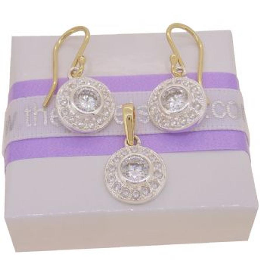 9CT YELLOW GOLD WHITE CUBIC ZIRCONIA CZ PAVE CLUSTER HOOK EARRINGS and PENDANT