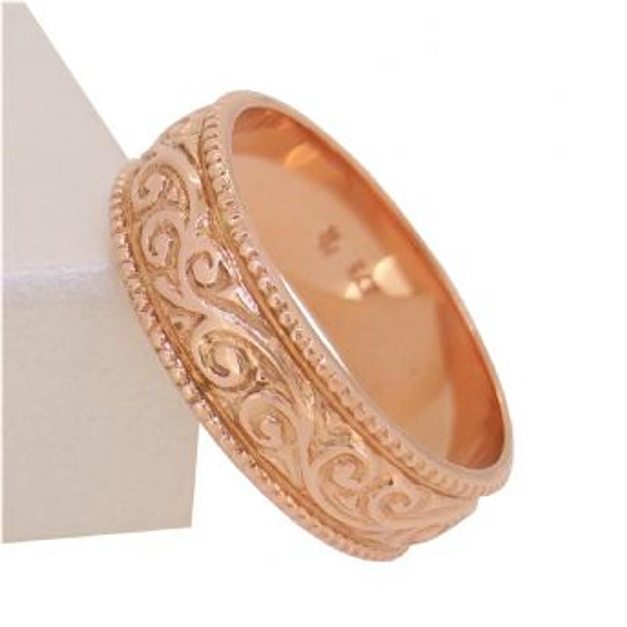 SOLID 9CT ROSE GOLD 5mm FILIGREE DESIGN RING