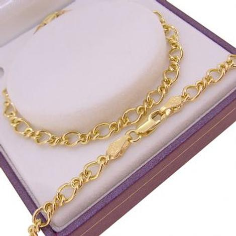 9CT YELLOW GOLD FIGARO CURB CHARM BRACELET