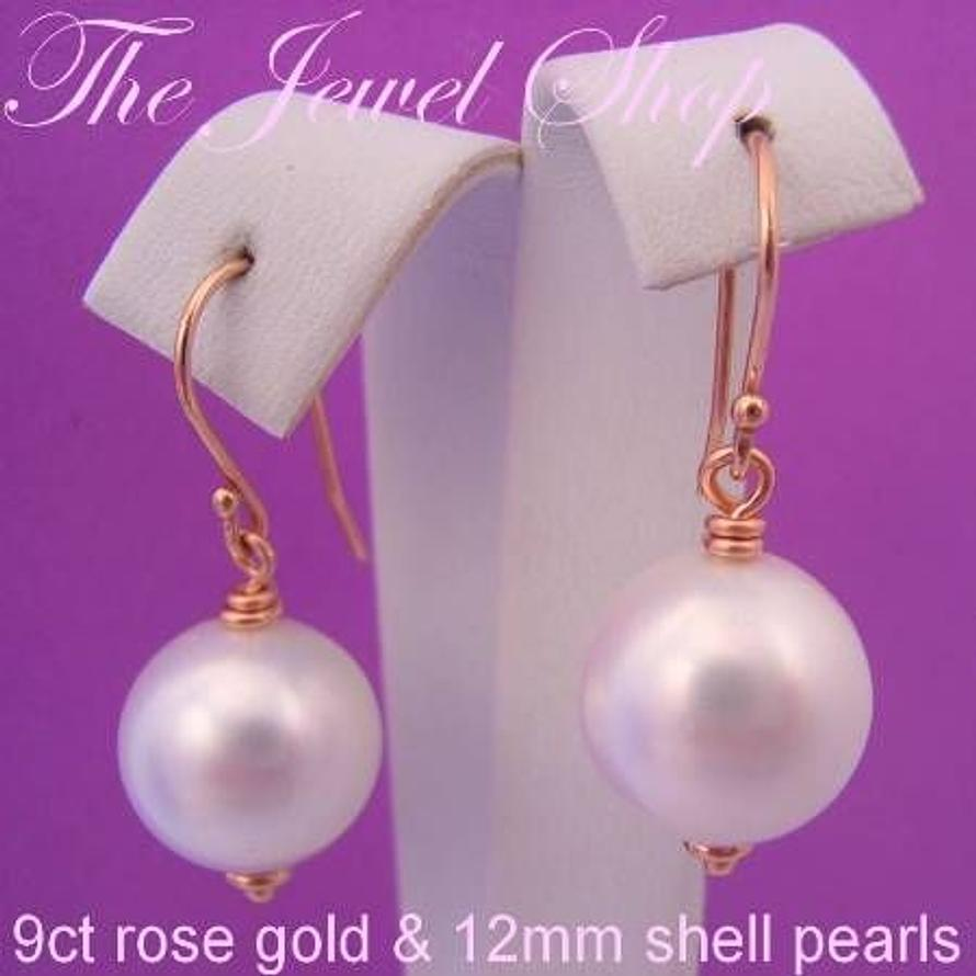 9CT ROSE GOLD 12mm WHITE SHELL PEARL DROP DESIGNER HOOK EARRINGS