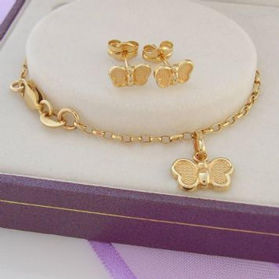 9CT YELLOW GOLD BUTTERFLY EARRINGS & BRACELET GIFT SET