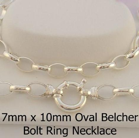 STERLING SILVER OVAL BELCHER CHAIN BOLT RING NECKLACE