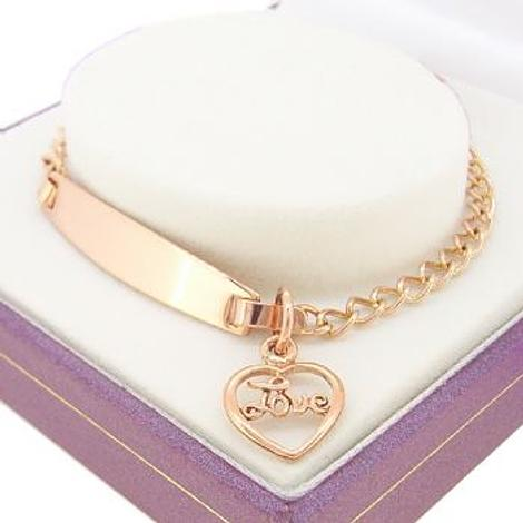 9CT ROSE GOLD CURB IDENTITY LOVE in my HEART CHARM BRACELET
