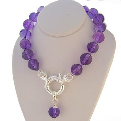 8mm FACET CUT NATURAL AMETHYST BOLT RING NECKLACE