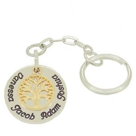 STERLING SILVER 25mm CIRCLE COIN FAMILY 9CT GOLD TREE OF LIFE PERSONALISED KEY RING