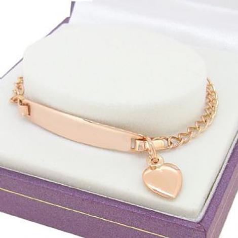 9CT ROSE GOLD CURB IDENTITY HEART CHARM BRACELET