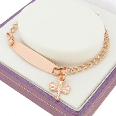 9CT ROSE GOLD CURB IDENTITY DRAGONFLY CHARM BRACELET