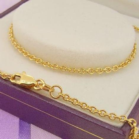 9CT YELLOW GOLD 2.2mm CABLE CHAIN NECKLACE All lengths Available