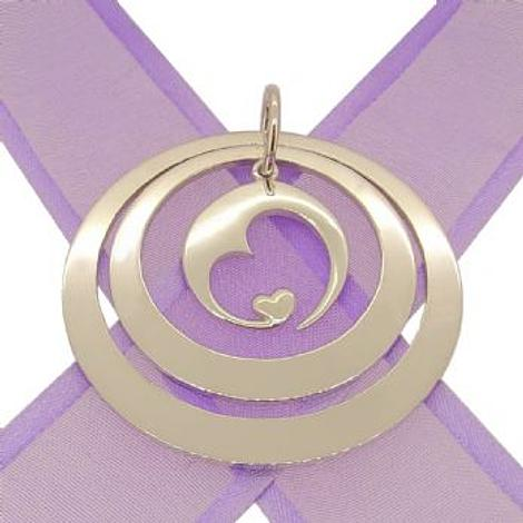 STERLING SILVER 35mm & 45mm PERSONALISED NAME CIRCLE MOON LOVE HEART PENDANT -35mm-45mm-JR-KB94-SS
