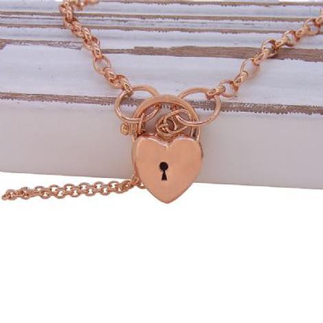 9CT ROSE GOLD BELCHER PUFFED LOVE HEART PADLOCK BRACELET