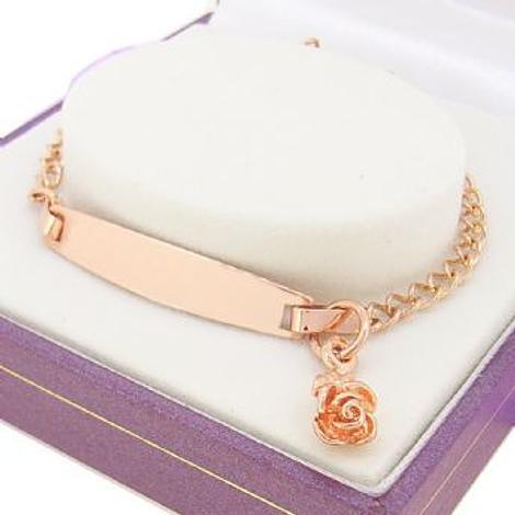 9CT ROSE GOLD CURB IDENTITY BEAUTIFUL ROSE CHARM BRACELET