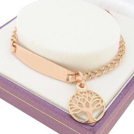 9CT ROSE GOLD CURB IDENTITY TREE of LIFE CHARM BRACELET