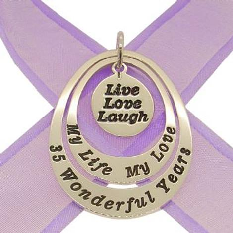 COUPLED OVAL CIRCLE OF LIFE PERSONALISED LIVE LOVE LAUGH FAMILY NAME PENDANT -27mm-35mm-KB110-jr-ss