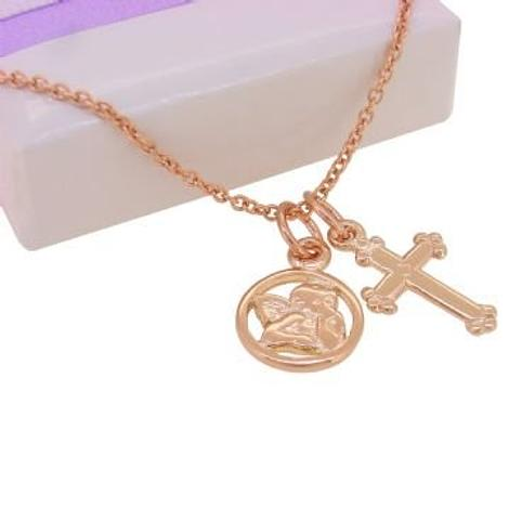 9CT ROSE GOLD GUARDIAN ANGEL and CROSS CHARM NECKLACE