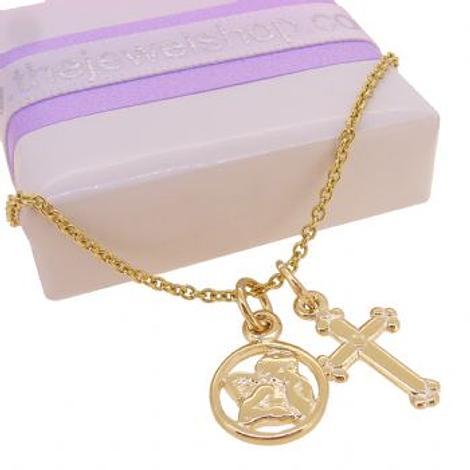 9CT GOLD GUARDIAN ANGEL and CROSS CHARM NECKLACE