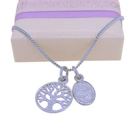 9CT WHITE GOLD SMALL OVAL ST CHRISTOPHER and TREE OF LIFE CHARM NECKLACE