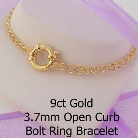 9CT GOLD CURB CHAIN BOLT RING BRACELET
