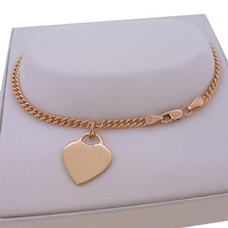 9CT ROSE GOLD 14mm HEART TAG CHARM CURB BRACELET