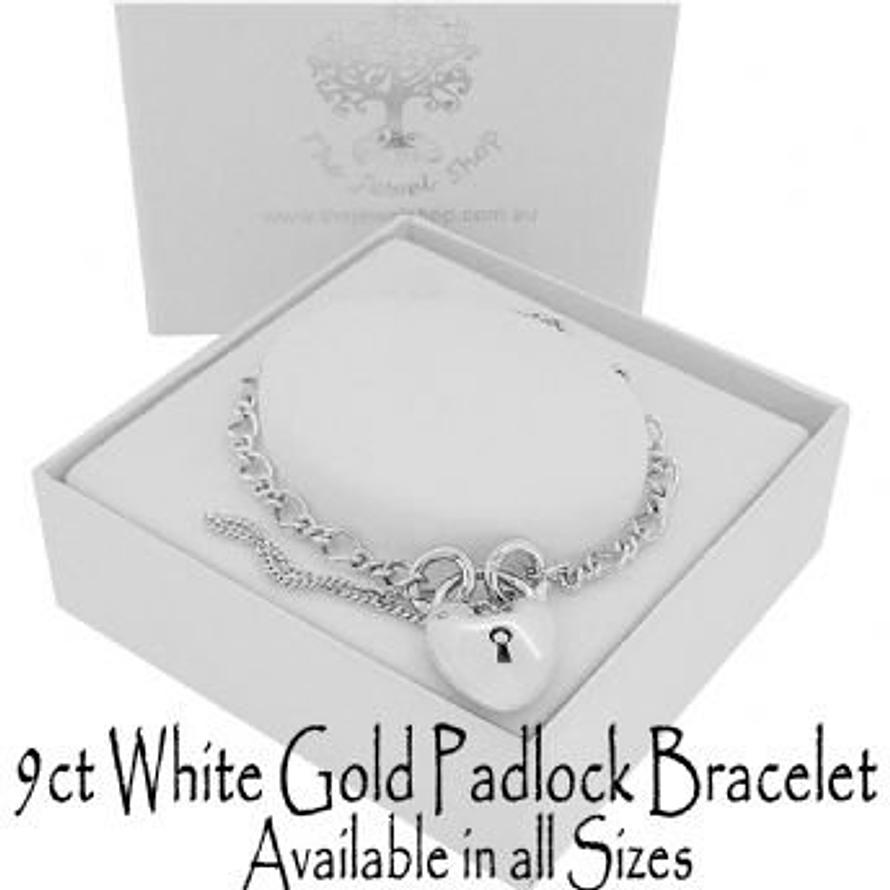 9CT WHITE GOLD FIGARO CURB PADLOCK BRACELET All Sizes Available