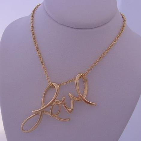 9CT GOLD LOVE CHARM PENDANT CABLE NECKLACE CHAIN 45CM
