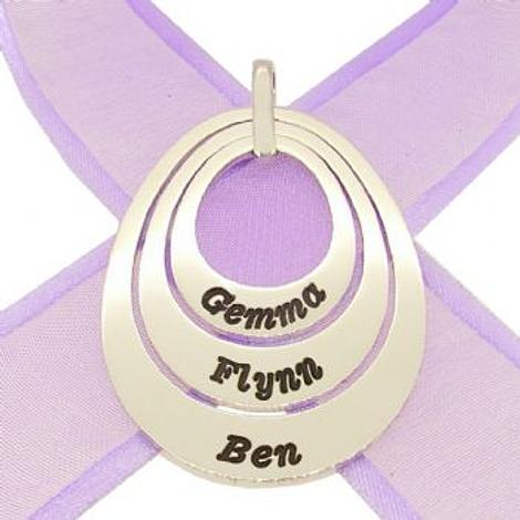 TRILOGY OVAL CIRCLE OF LIFE PERSONALISED FAMILY NAME PENDANT