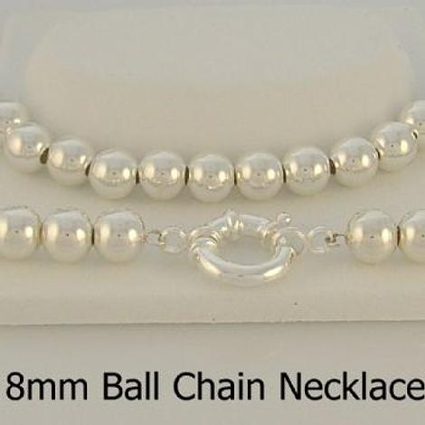 STERLING SILVER 8mm BALL CHAIN BOLT RING NECKLACE