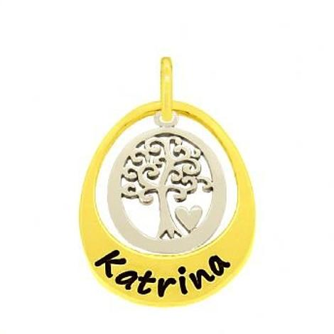 9CT GOLD 19mm SMALL OVAL PERSONALISED FAMILY TREE OF LIFE NAME PENDANT