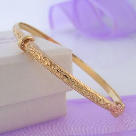 9CT GOLD BABY AND CHILD 40mm-58mm EXPANDABLE BANGLE