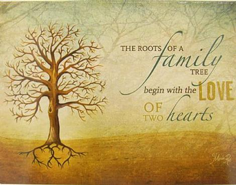 Free Gift Folded Card Family roots begin with love