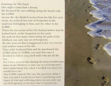 Free Gift Post Card Footsteps in the Sand Prayer