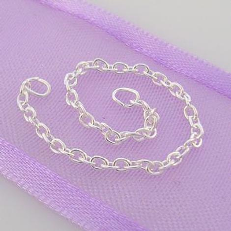 STERLING SILVER 1.5mm CABLE SAFETY CHAIN BRACELET 80mm