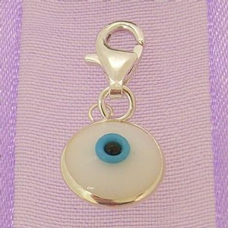 WHITE EVIL EYE PROTECTOR CLIP ON CHARM STERLING SILVER -CH-EVIL-White-pct9