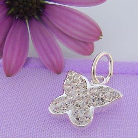 STERLING SILVER 12mm CRYSTAL BUTTERFLY CHARM PENDANT -SS_CP_JC-EW1739CR