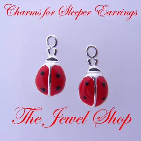 1 x PAIR STERLING SILVER 5mm LADYBUG SLEEPER CHARMS